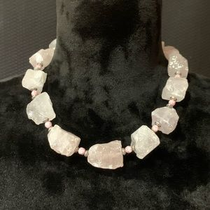 Jewelry - Rose Quartz and Accent Glass and Metal Necklace